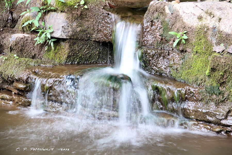 Water Photograph - Small Waterfall by Carolyn Postelwait