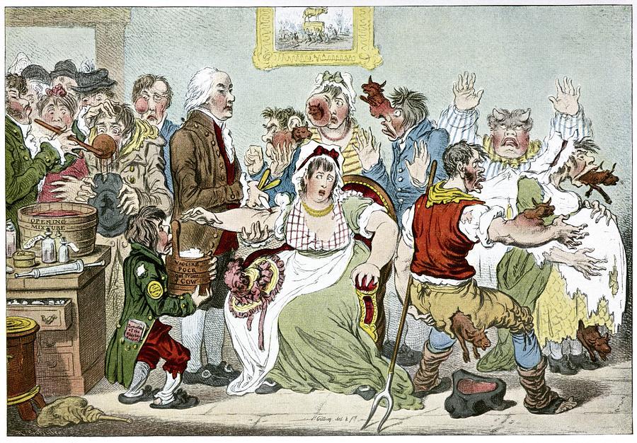 Edward Jenner Photograph - Smallpox Vaccination, Satirical Artwork by