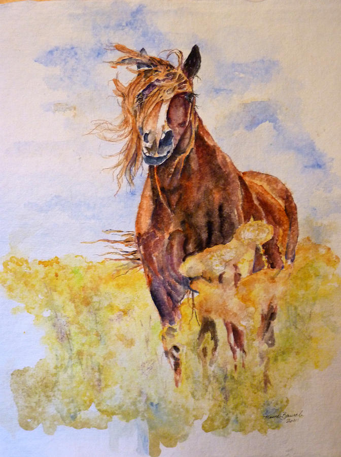 Horse Painting - Smellin The Flowers by P Maure Bausch