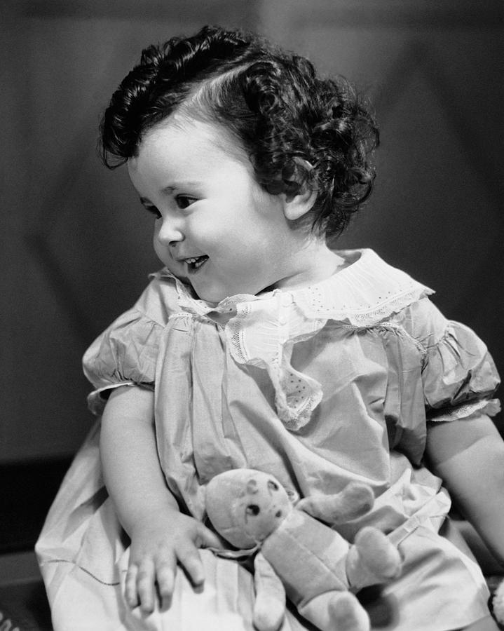 Baby Photograph - Smiling Baby W/teddy Bear by George Marks
