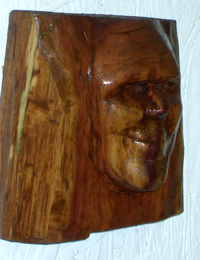Cedar Sculpture - Smiling by Charles Sims