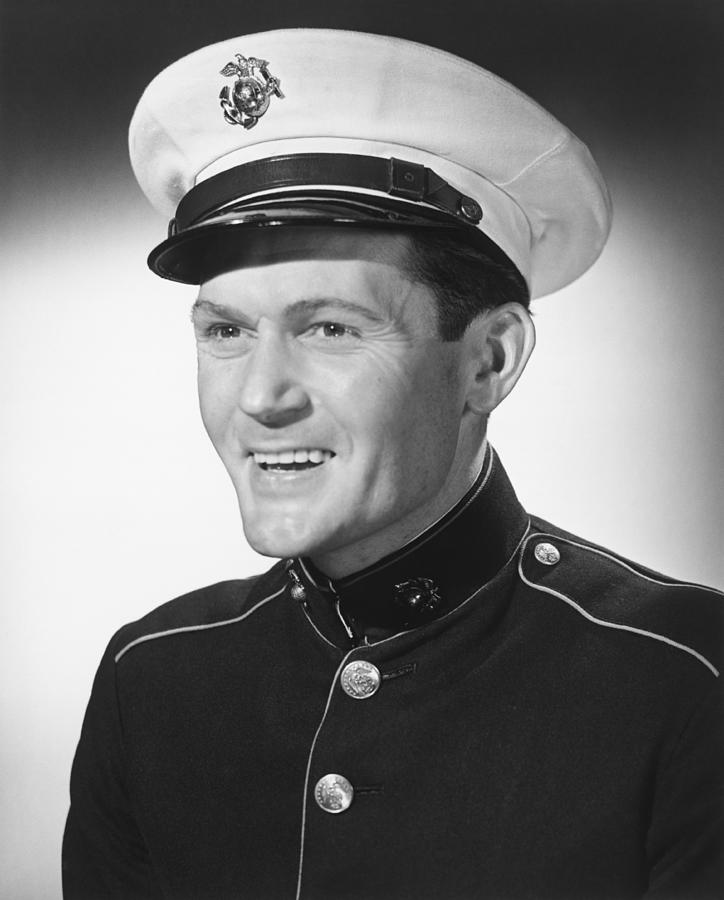 Adult Photograph - Smiling Man In Military Uniform Posing In Studio, (b&w), Portrait by George Marks