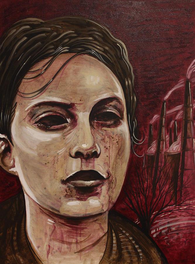 Woman Painting - Smogy Night by Joshua Dixon