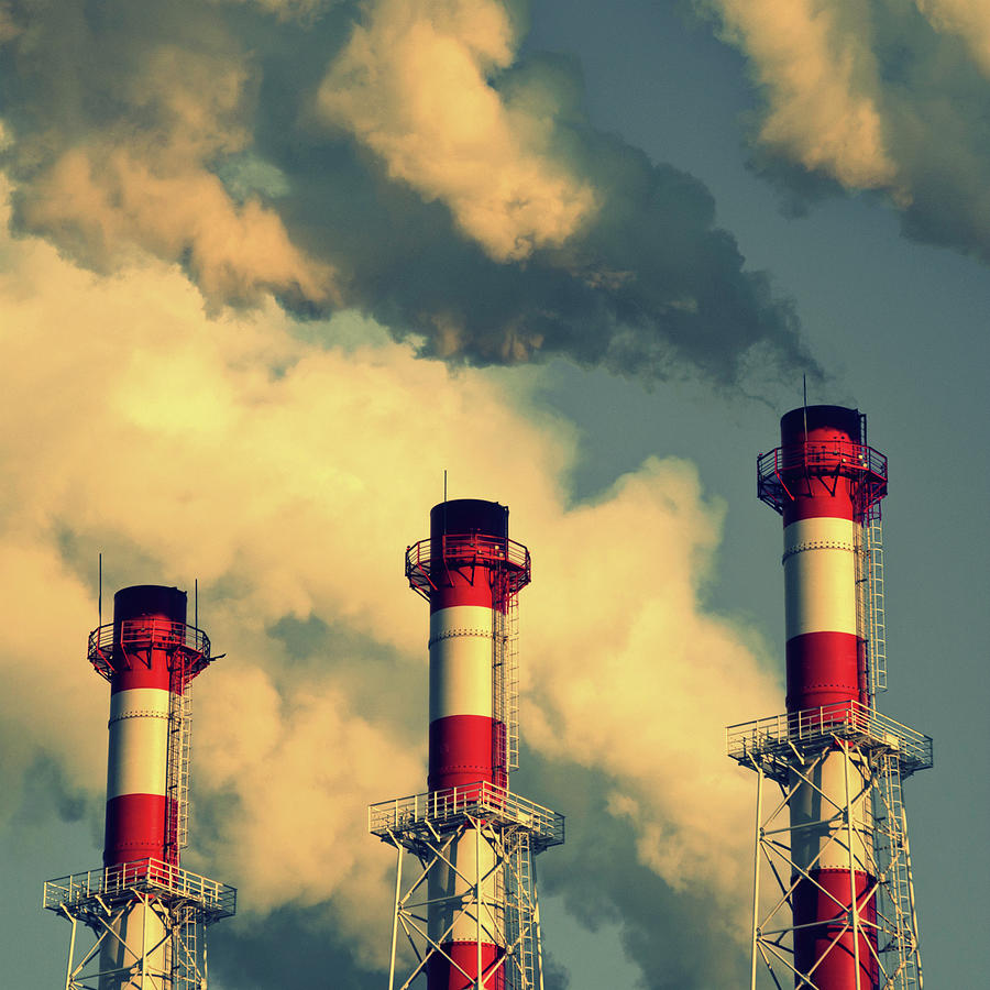 Square Photograph - Smoke Coming From Big Chimneys, Moscow by Fedor Vilner