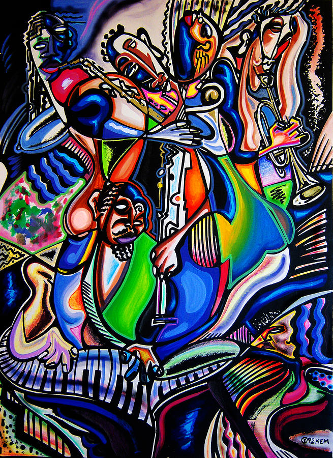 Oil Mixed Media - Smokin Jam Session by Kevin McDowell