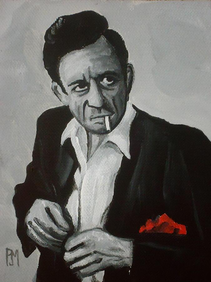 Johnny Cash Painting - Smokin Johnny by Pete Maier