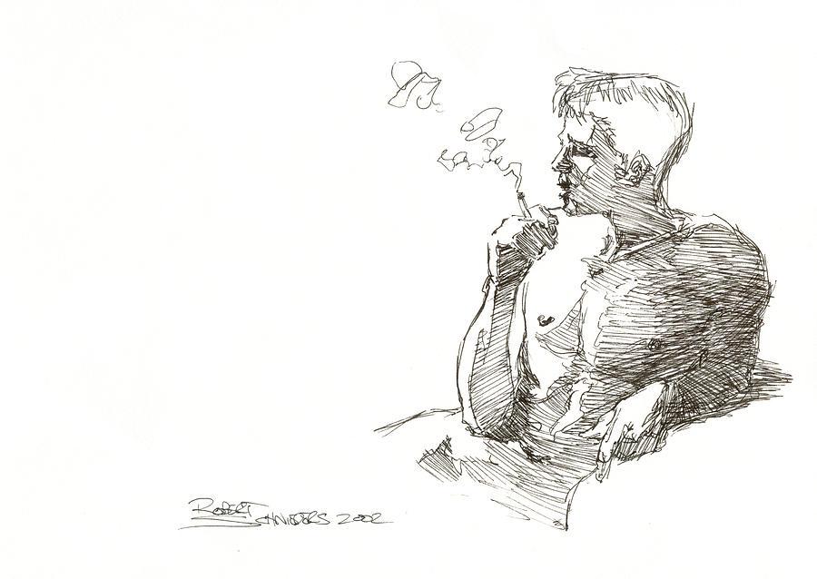 Male Drawing - Smoking by Robert Schnieders