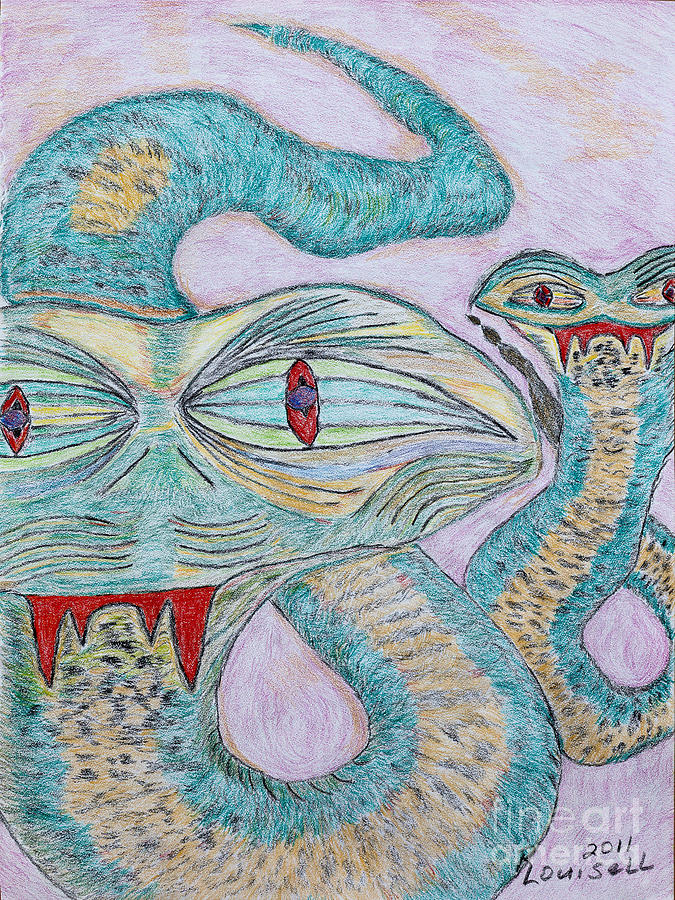 Conte Drawing - Snake Twins by Robyn Louisell