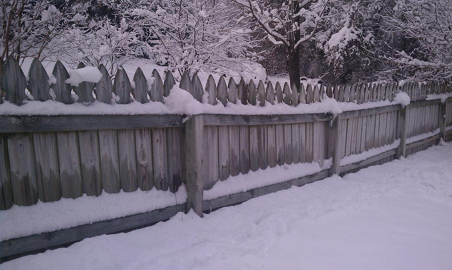 Snow Photograph - Snow Along A Fence by Jeannette Brown