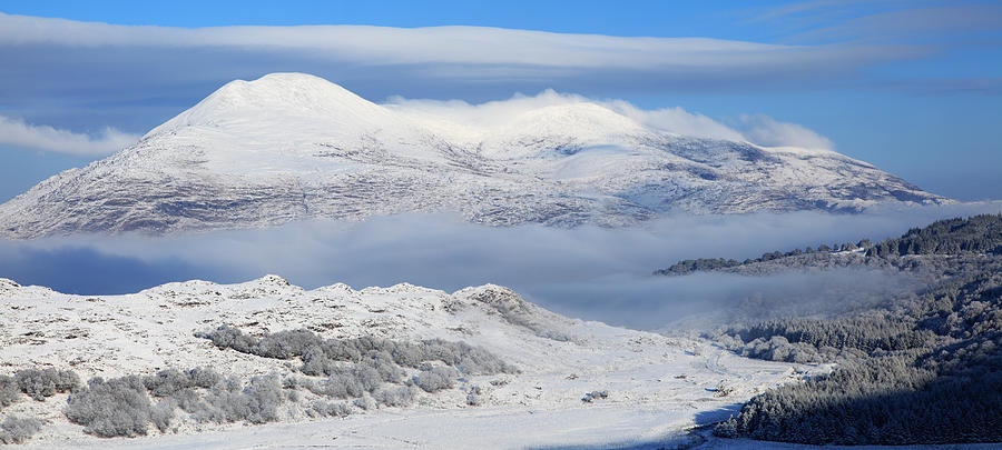 Cloud Photograph - Snow Covered Landscape In Winter Near by Peter Zoeller