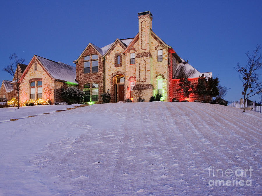 Architectural Detail Photograph - Snow Covered Yard And Stone House by Jeremy Woodhouse