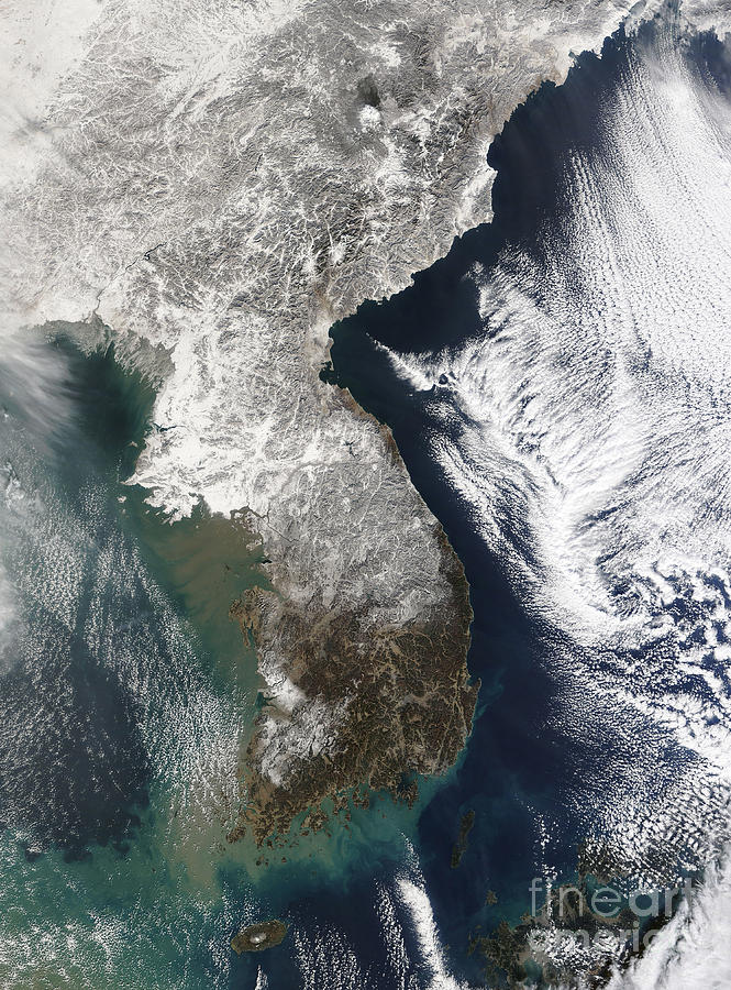 Satellite View Photograph - Snow In Korea by Stocktrek Images