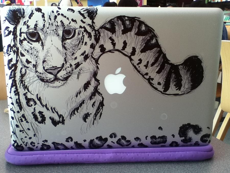 Snow Leapard Macbook Drawing by Karina Alfaro