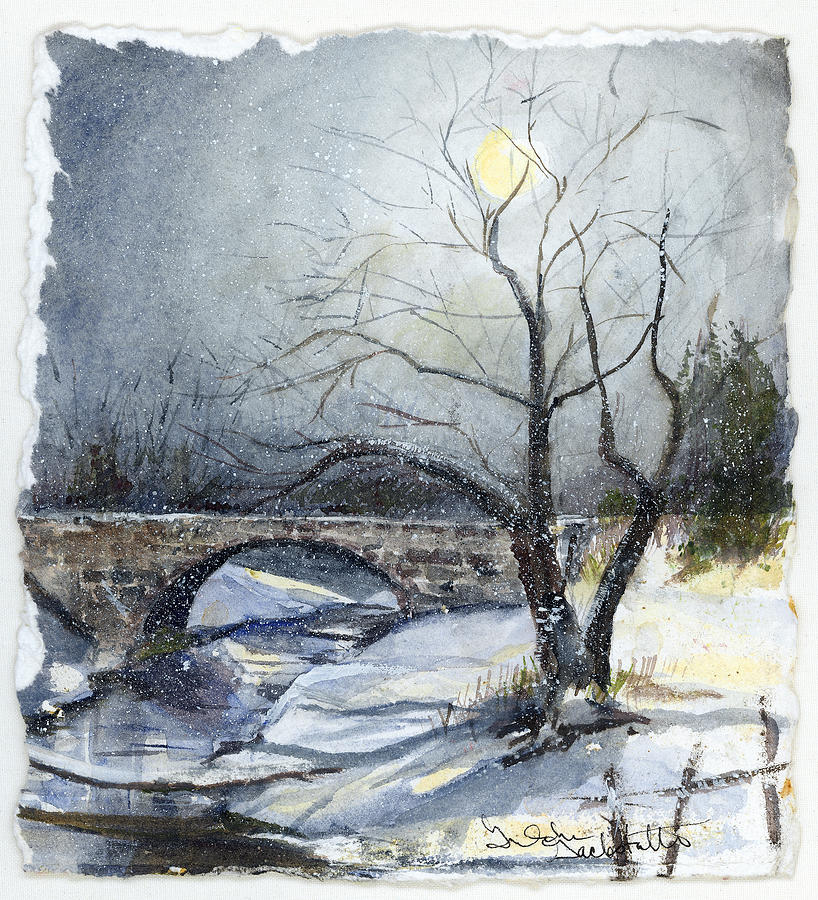Watercolor Painting - Snow Moon Bridge by Gretchen Gackstatter