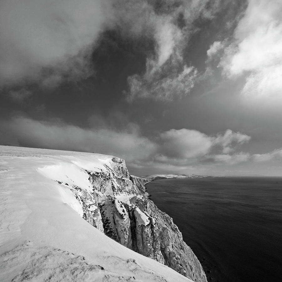 Square Photograph - Snow On Highdown, Freshwater, Isle Of Wight by s0ulsurfing - Jason Swain