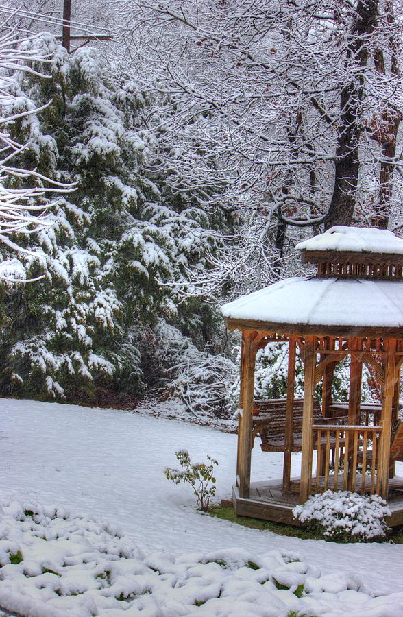 Gazebo Photograph - Snow On The Roof by Barry Jones