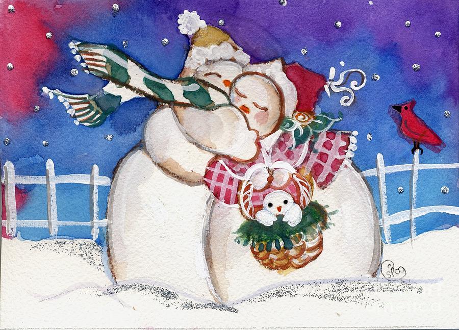 Snowmen Painting - Snow People by Sylvia Pimental