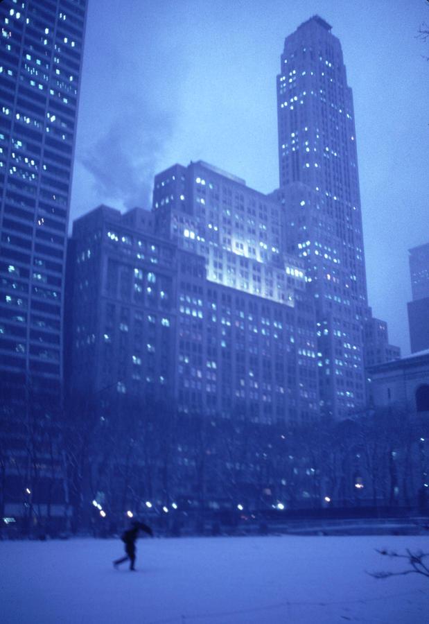 Snow Photograph - Snow Storm Bryant Park New York City by Tom Wurl