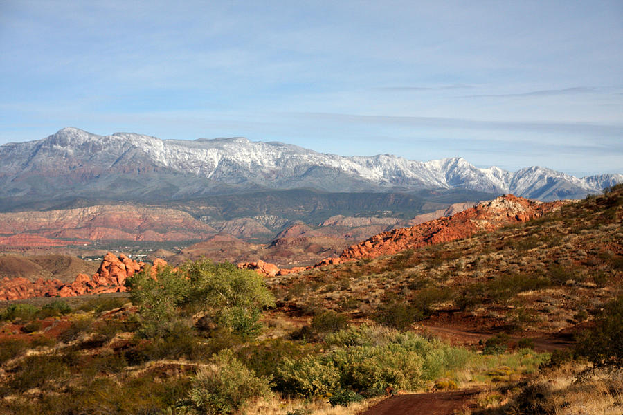 Desert Photograph - Snowcapped Foothills by Marta Alfred