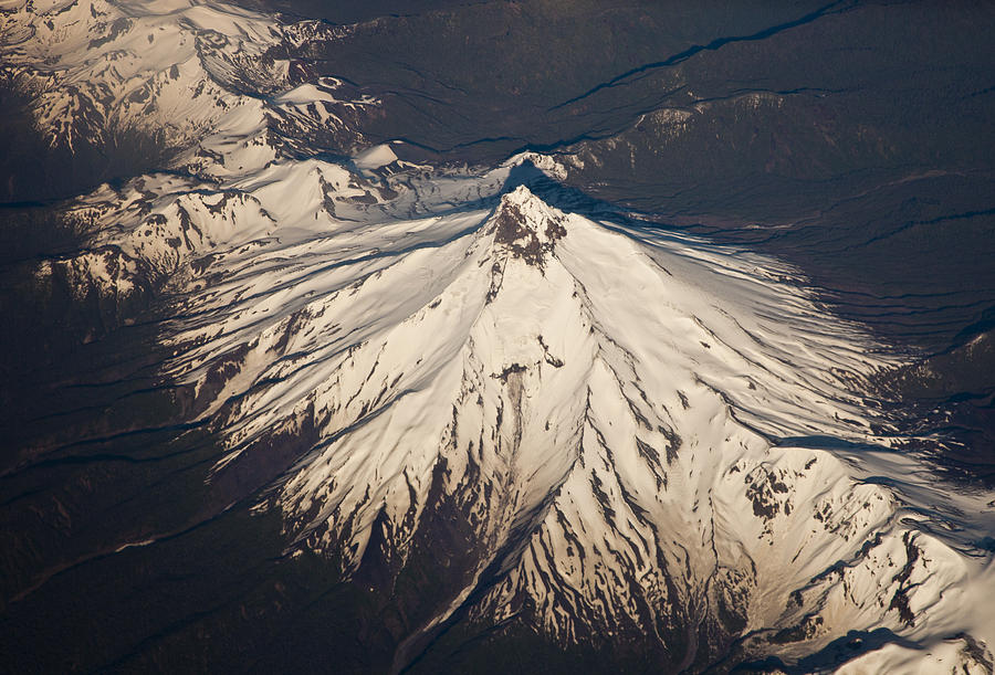 Aerial View Photograph - Snowcovered Volcano Andes Chile by Colin Monteath