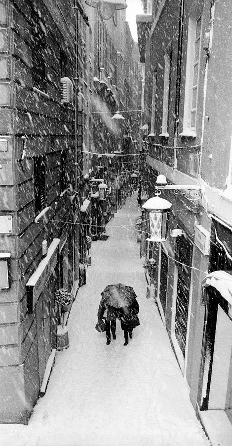 Street Photograph - Snowfall in Genoa by Andrea Gabrieli