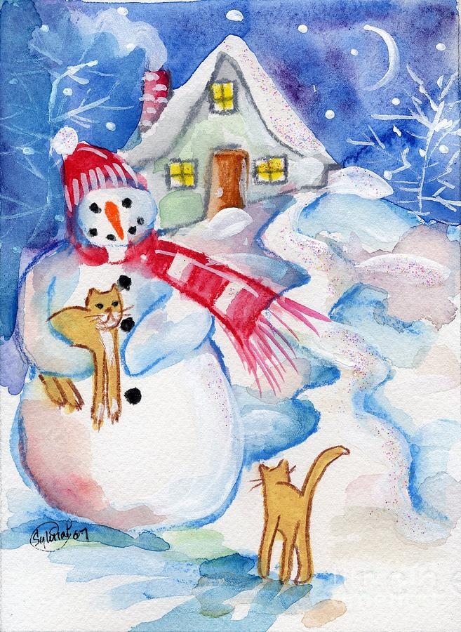 Christmas Painting - Snowman And Kitten by Sylvia Pimental