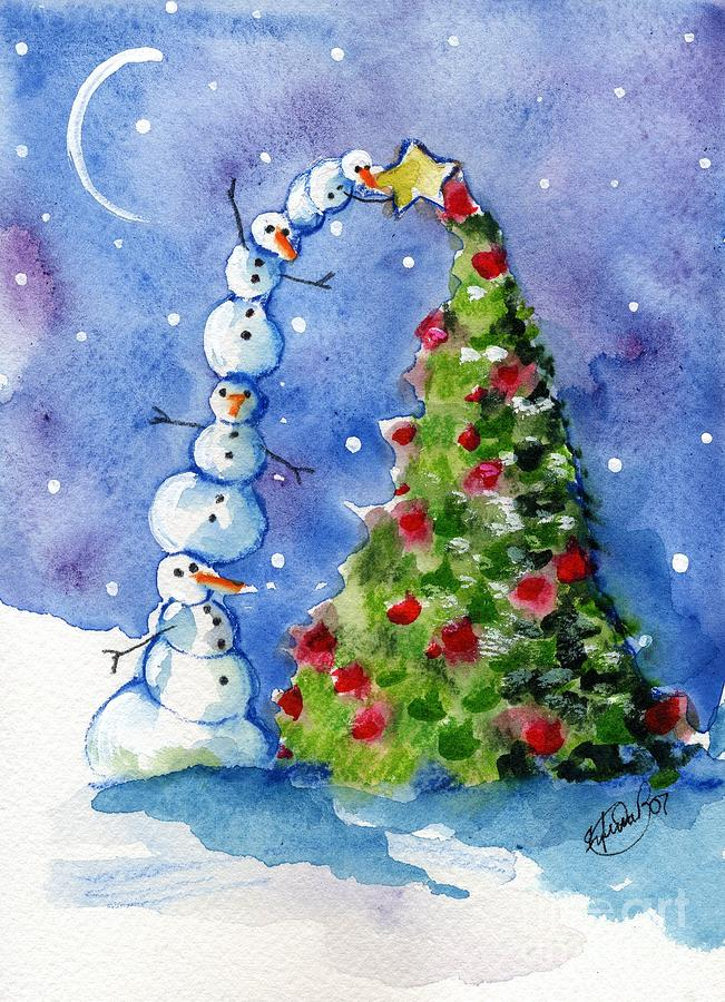Snowman christmas tree painting by sylvia pimental Christmas card scenes to paint