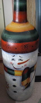 Snowman Jug Glass Art by Fran Haas