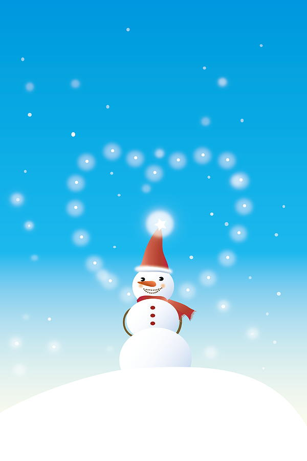 Snowman Wearing Christmas Costume And Standing On Top Of A Snow Mountain Digital Art by Meg Takamura