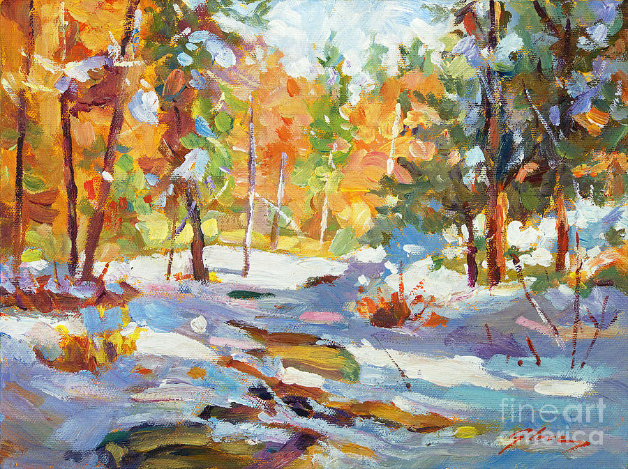 Impressionist Painting - Snowy Autumn - Plein Air by David Lloyd Glover