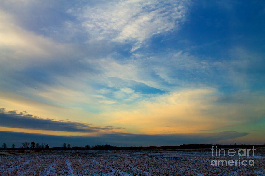 Sunset Photograph - Snowy Field Sunset by Ursula Lawrence