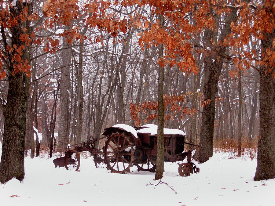 Farm Photograph - Snowy Implement by Ed Golden