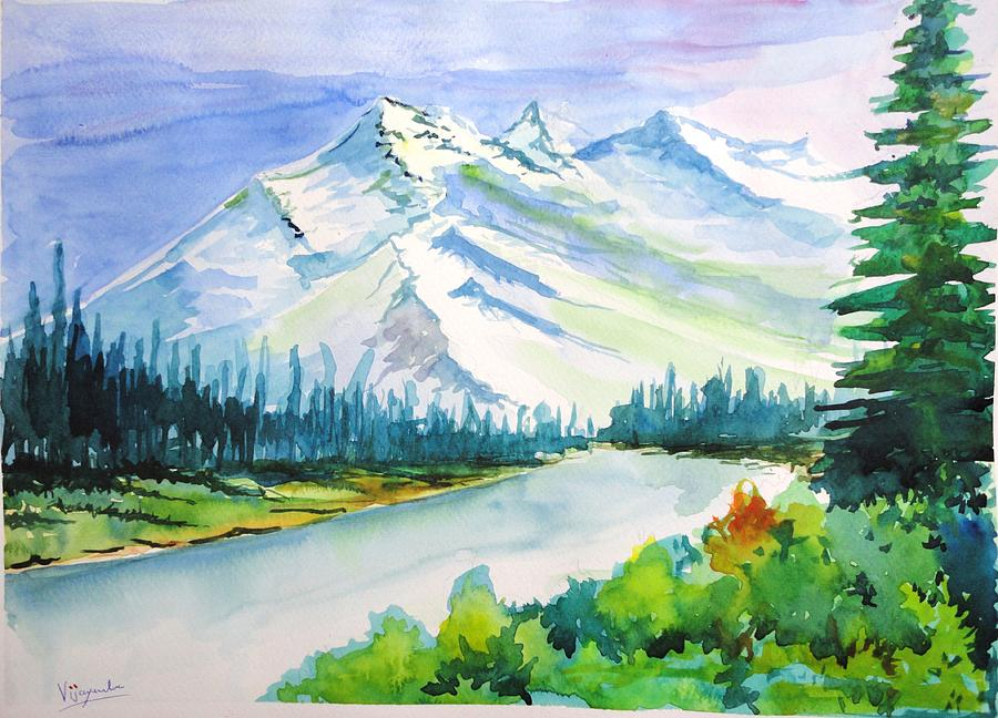 snowy mountain landscape painting. snow painting snowy mountains by vijayendra bapte mountain landscape n