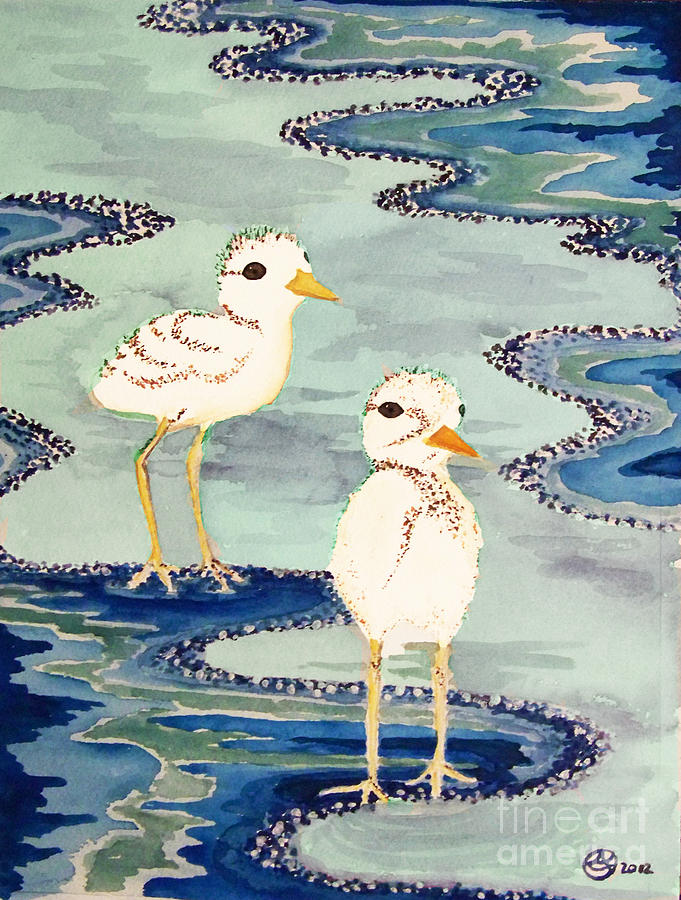 Snowy Plover Chicks Painting by Alexandra  Sanders