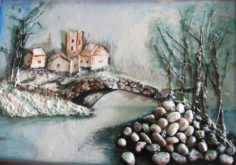 Snowy Village Painting by Rejeena Niaz