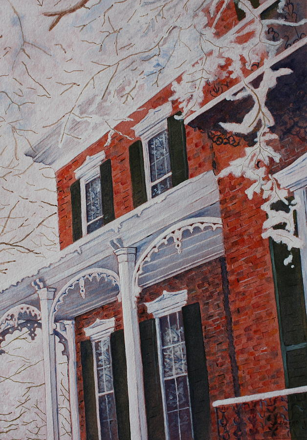 Snowy Yesteryear Painting by Patsy Sharpe