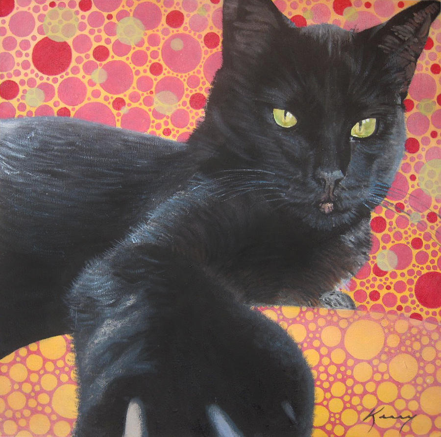Cat Painting - So Not Your Friend by Kerry Neuville