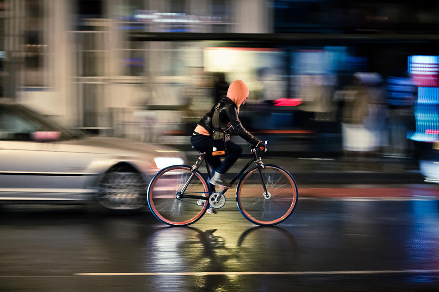 Bike Photograph - Soggy Cyclist by Justin Albrecht