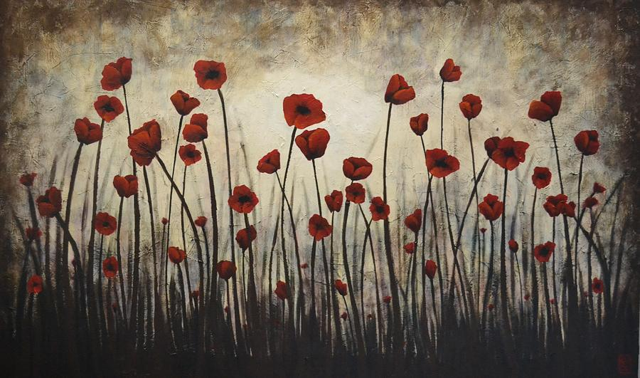 Poppy Painting - Solace by Holly Donohoe