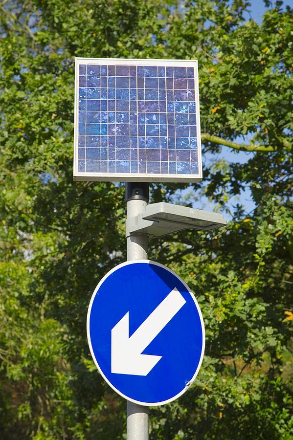 Solar Powered Road Sign Uk Photograph By Paul Rapson