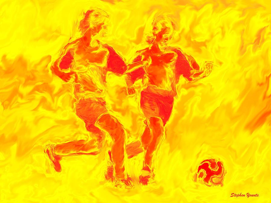 Soccer Digital Art - Solar Soccer by Stephen Younts