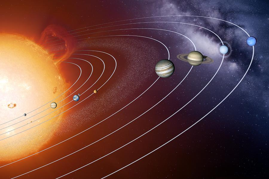 Solar System Photograph - Solar System Orbits, Artwork by Detlev Van Ravenswaay