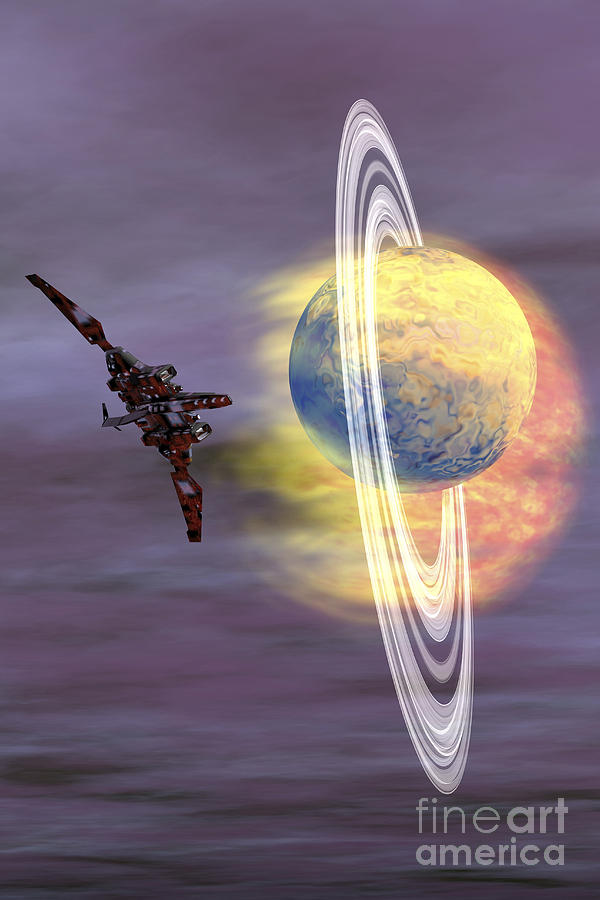 Space Art Digital Art - Solar Winds Hit A Ringed Planet by Corey Ford