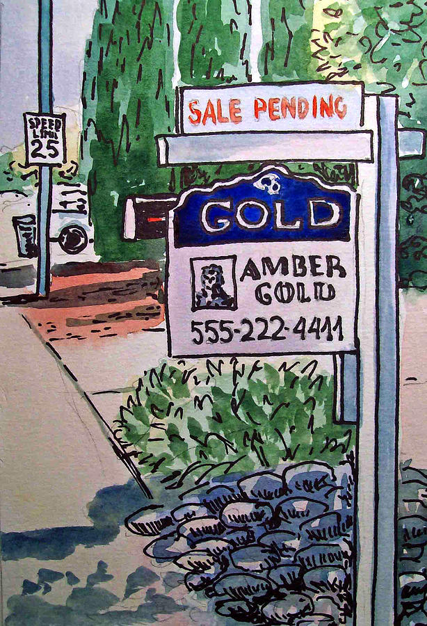 Real Estate Sign Painting - Sold Sketchbook Project Down My Street by Irina Sztukowski