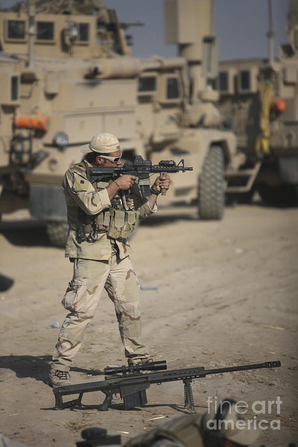 Kunduz Photograph - Soldier Fires A M4 Carbine by Terry Moore
