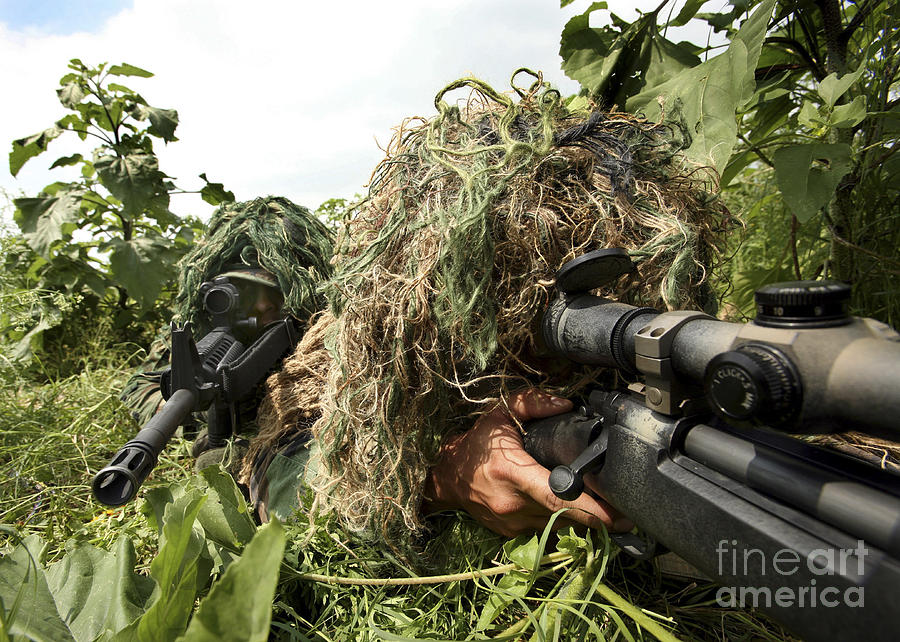 Aiming Photograph - Soldiers Dressed In Ghillie Suits by Stocktrek Images