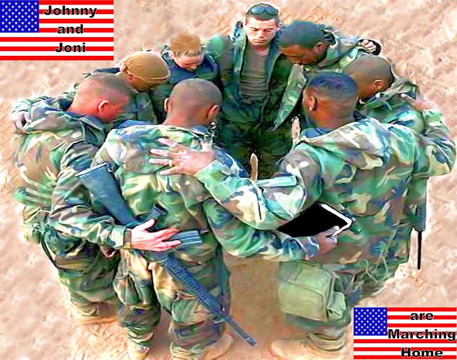Flag Digital Art - soldiers Praying by Terri Mertz
