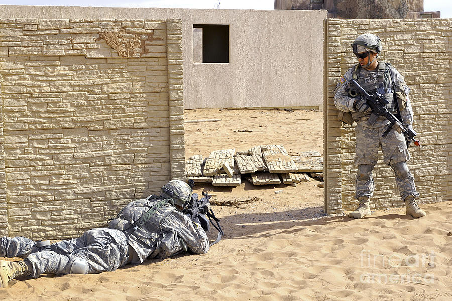 Military Photograph - Soldiers Pull Security At A Mock Afghan by Stocktrek Images