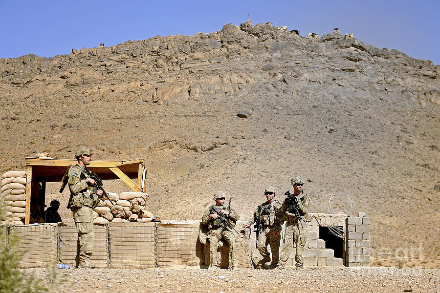 Provincial Reconstruction Team Photograph - Soldiers Wait For Afghan National by Stocktrek Images