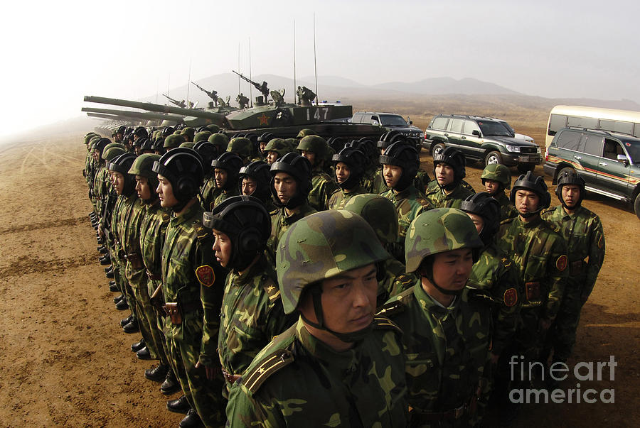Battle Tanks Photograph - Soldiers With The Peoples Liberation by Stocktrek Images